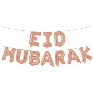 Folieballonslinger Eid Mubarak roségoud