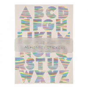 Zilveren holografische stickers alfabet (240st) Meri Meri