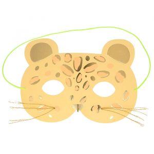 Wenskaart luipaard met maskertje Meri Meri