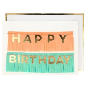 Wenskaart Happy Birthday fringe slinger Meri Meri