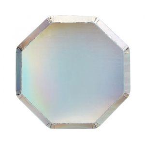 Gebaksbordjes zilver holografisch (8st) Meri Meri