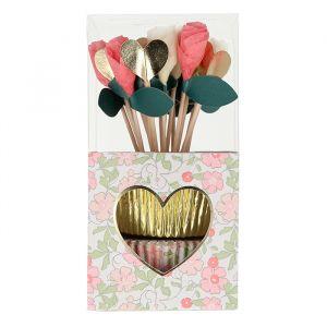 Cupcake set Valentine flowers Meri Meri
