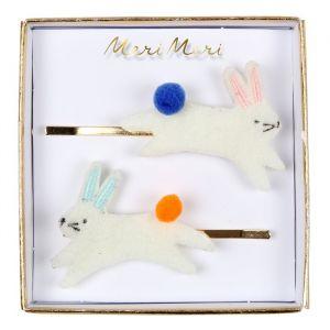 Haarspeldjes konijnen pompons (2st) Meri Meri