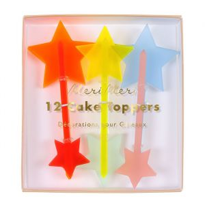 Cupcake prikkers Neon Acryl Meri Meri (12st)