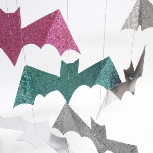 Glitter vleermuizen Pastel Halloween (8st) Meri Meri
