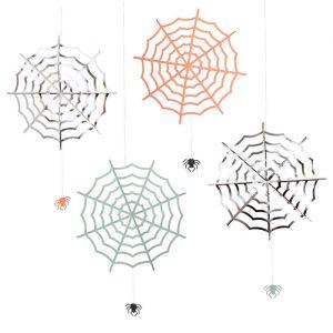 Hangdecoratie spinnenwebben Pastel Halloween (4st) Meri Meri