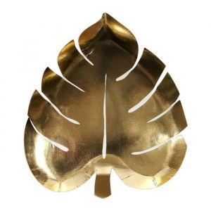 Bordjes palmbladeren goud Tropical (8st) Meri Meri