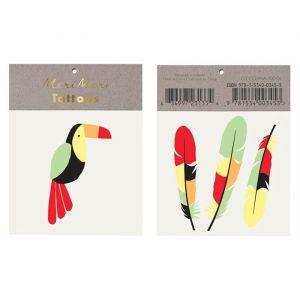 Plaktattoos toucan en veren Go Wild Meri Meri