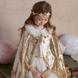 Gouden cape en toverstafje pailletten goud Meri Meri