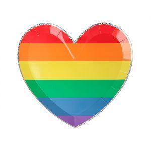 Gebaksbordjes Rainbow Heart (8st) Meri Meri