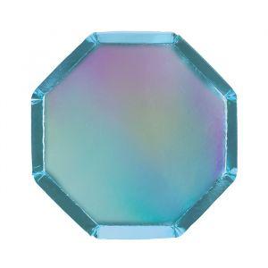 Gebaksbordjes Blue Holografisch (8st) Basics Meri Meri