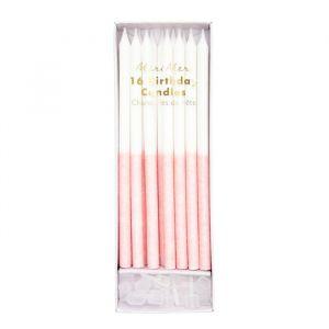 Glitter Kaarsen Dipped Roze (16st) Meri Meri