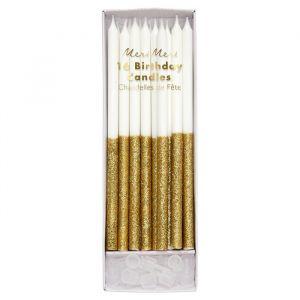 Glitter Kaarsen Dipped Goud (16st) Meri Meri
