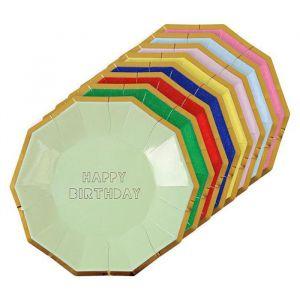 Gebaksbordjes Happy Birthday Multi-Color (8st) Meri Meri