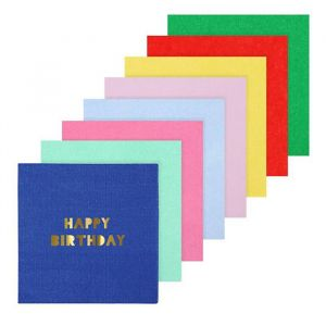 Gebaksservetten Happy Birthday Multi Color (16st) Meri Meri