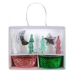 Cupcake set Metallic Christmas Meri Meri