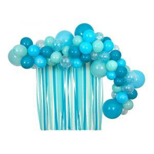 Ballonnenboog pakket met streamers blauw Meri Meri