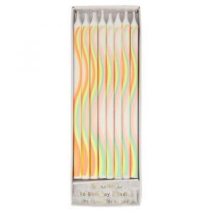 Lange kaarsen Rainbow (16st) Meri Meri