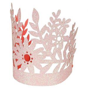 Feestkroontjes glitter roze (8st) Meri Meri