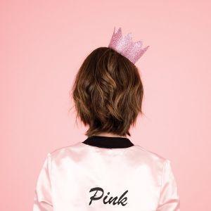 Glitter kroon roze (8st)