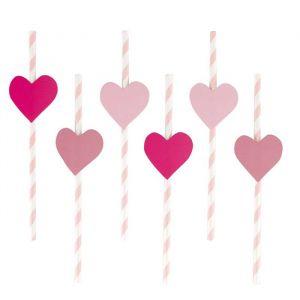 Papieren rietjes love stripes roze (12st)