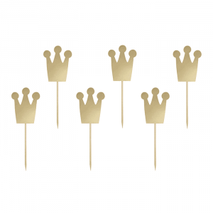 Cupcake toppers kroontjes goud (6st)