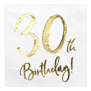 Servetten 30th Birthday goud (20st)