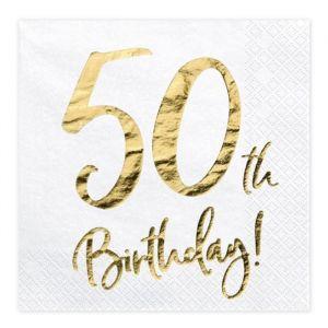 Servetten 50th Birthday goud (20st)