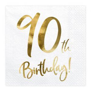 Servetten 90th Birthday goud (20st)