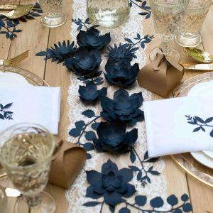 Decoratie bloemen blauw (3st) Rustic Collection