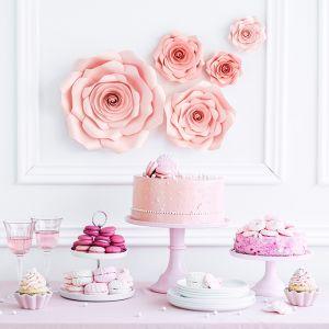 Papieren decoratiebloemen roze (5st)