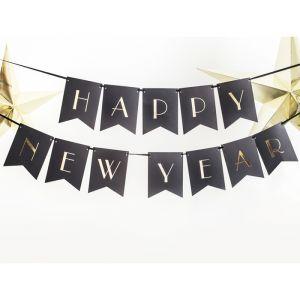 Slinger Happy New Year zwart-goud