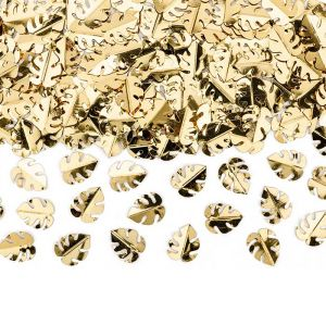 Tafelconfetti metallic blaadjes goud