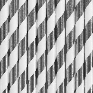Papieren rietjes Stripes zilver-wit (10st)