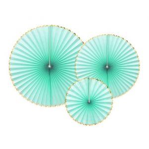 Paper fans mint-goud (3st)
