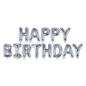 Folieballonnenset Happy Birthday zilver
