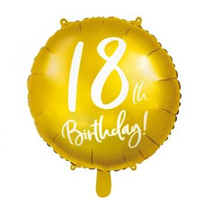 Folieballon 18th Birthday goud (45cm)