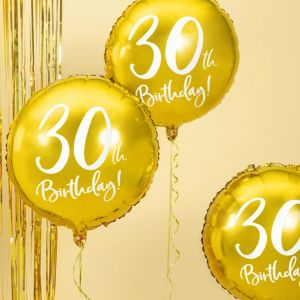 Folieballon 30th Birthday goud (45cm)