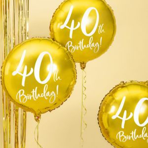 Folieballon 40th Birthday goud (45cm)
