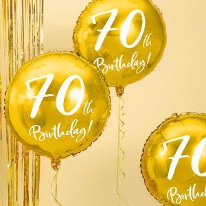 Folieballon 70th Birthday goud (45cm)