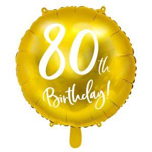 Folieballon 80th Birthday goud (45cm)