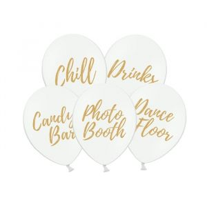 Ballonnen Party set wit-goud (5st)