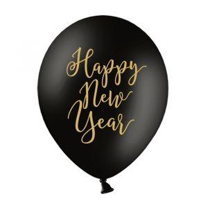 Ballonnen Happy New Year zwart-goud (6st)