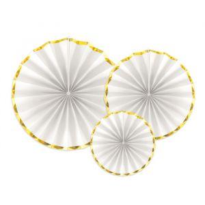 Paper fans wit-goud (3st)