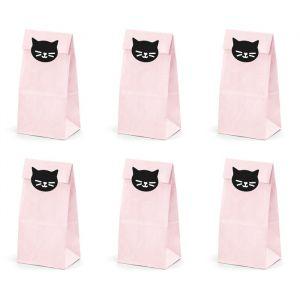 Uitdeelzakjes Kat roze (6st) Cat Collection