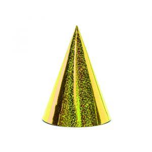 Feesthoedjes Holografisch goud (6st)