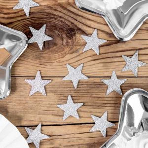 Tafelconfetti Ster zilver glitter (8st)