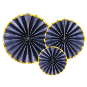 Paper fans donkerblauw-goud (3st)