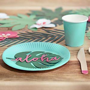 Papieren bekertjes turquoise Aloha Collectie (6st)
