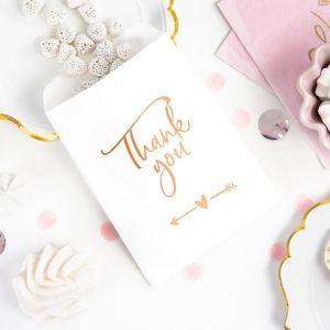 Uitdeelzakjes Thank You roségoud (6st)